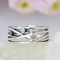 Octbyna New Classic Silver-Plated Overlapping Pandora Finger Ring For Women Wedding Fine Jewelry