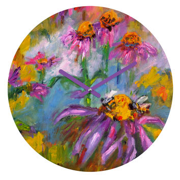 Ginette Fine Art Purple Coneflowers And Bees Round Clock