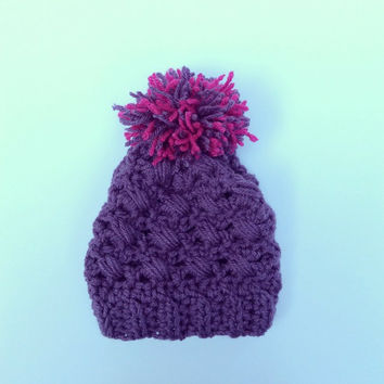 Kids Hat Beanie with PomPom Crochet Purple Pink Maroon
