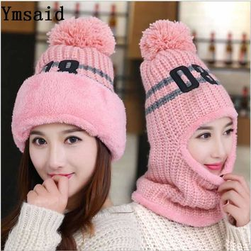 Ymsaid Winter Women Knitted Hat Scarf Set Fashion Wool Thickening Hat Collars Female Warm Hat Scarf Set Casual Snow Caps