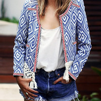 Blue Geometric Open-Front Blazer
