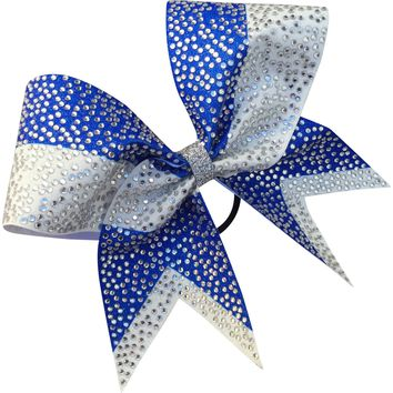Two color sublimated bow full of scattered rhinestones.