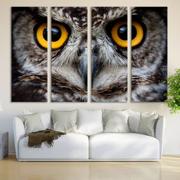 Owl Wall Art Print / Owl Art Decor Print on Stretched Canvas Wall Art Bird Print / Owl Lover Gift Canvas Print Giclee Canvas Print