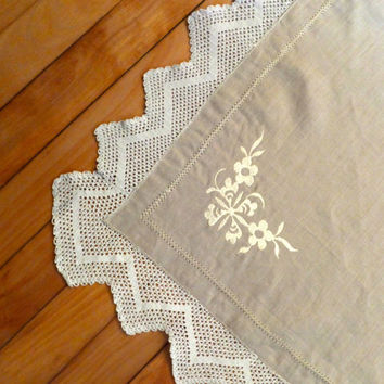Handmade Linen Tablecloth or Runner with Vintage Cotton Crochet Trim and Embroidery