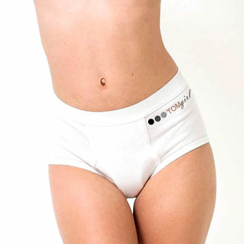 Large Unisex Underwear, High Rise White Undies, Cotton Menswear Inspired Underwear, TOMgirl Underwear, White 100% Cotton Panties