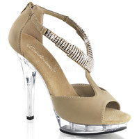 Nude Open-Toe 5 Inch Heel Strappy Sandals