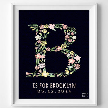 Customize Name, Brooklyn, Print, Custom, Baby Art, Benjamin, Brayden, Letter N, Monogram, Nursery, Brody, Alphabet N, Girl, Initial [NO 670]