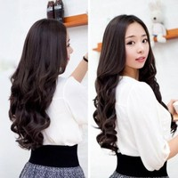 Vktech® Width 25cm Lady Sexy Long Curl Wavy Clip-on Hair Extension Dark Brown