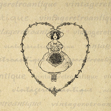 Printable Graphic Girl with Flowers Heart Download Love Digital Image Antique Clip Art for Transfers etc HQ 300dpi No.3563