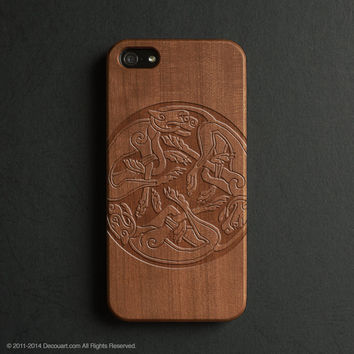 Real wood engraved mural pattern iPhone case S021