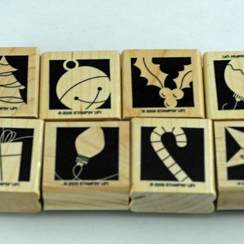 "Christmas Stampin Up Stamp Set,""Holiday Blocks"". Set of Eight, Retired"