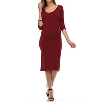 Sexy Deep Scoop Neck Crop Top 2-Fer Jersey Knit Midi Dress