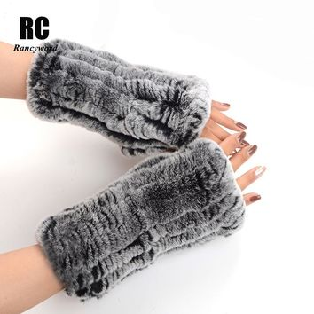 [Rancyword] Genuine Fur Gloves For Women Winter Warm knitted Rex Rabbit Fur Gloves Women's  Solid Long Natural Fur Gloves RC1253