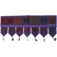 Purple Indian Vintage Decorative Patchwork Window Door Valance on RoyalFurnish.com
