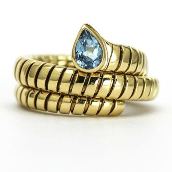 Bvlgari Tubogas Serpenti Blue Topaz Ring in 18k Yellow Gold Size 8