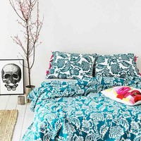Magical Thinking Stamped Blossom Duvet Cover- Turquoise Full/queen