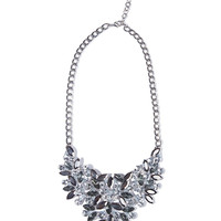 Silver necklace with faceted jewel stones