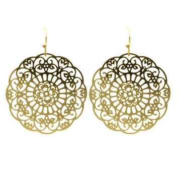 Gold Filigree Disc Earrings
