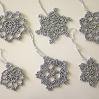 Christmas Ornaments, Crochet Snowflakes, Crochet Ornaments, Silver Snowflakes, Holiday Decor, Hanging Decor, Christmas Tree Decor, Gift Tags