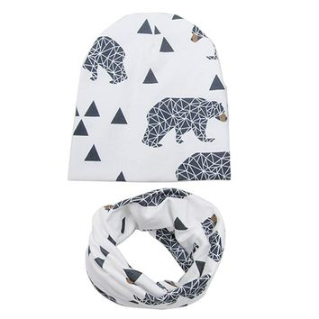 2017 Sping Autumn Animal Print Cotton Baby Cap Girl Boy Beanie & Sarf Toddler Kids Hat Lovely bebes bonnet Accessories