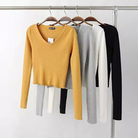 Winter V-neck High Waist Crop Top Knit Tops Bottoming Shirt [6332299908]