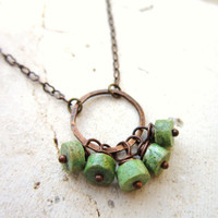 Genuine Turquoise Necklace. Green Turquoise & Copper Circle Necklace. Turquoise Cluster Necklace. Turquoise Jewelry