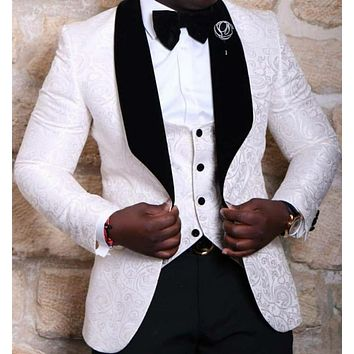 New Style Groomsmen Shawl Lapel Groom Tuxedos Red/White/Black Men Suits Wedding Best Man Blazer (Jacket+Pants+Tie+Vest) C46