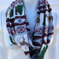 Christmas Tree Handmade Scarf-Reindeer Moose Flannel Infinity Scarf-Bear Chunky Winter Scarf-Women's Aztec Tribal Print Scarf-Gifts For Her