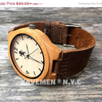 SALE Engrave Wood Watch with Genuine Leather. Groomsmen Gift. Mens Watches. Wood Watches. Kavemen. Boston Watch.