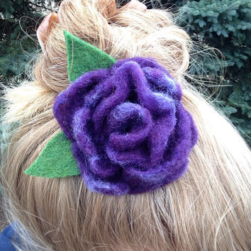 Felt Hair Clip, Wool Flower Clip, Rose Barrette, Mother's Day Gift, Home Decor: HANDMADE FIBER ART