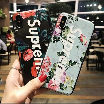 Supreme IPhone7Plus mobile phone shell sanding relief fall 8 generation Apple 6S protective cover soft shell