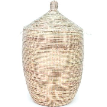 "27"" African Basket with Lid - White - 27"" African Basket with Lid - White"