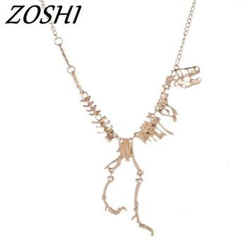 ZOSHI 2017 Fashion Jewelry Gothic Tyrannosaurus Rex Skeleton Dinosaur Pendant Necklace Gold Color Choker Necklace For Women