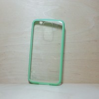 For Samsung Galaxy S5 Light Green Silicone Bumper and Clear Hard Plastic Case