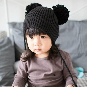 New Fashion Baby Girls Boys Beanie Hats Kids Children Dual Ball Knit Sweater Cap Winter Warm Knitted hats red black BCCH1020