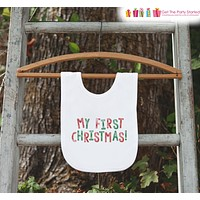 My First Christmas Bib for Baby - 1st Christmas Dinner Bib - Winter Holiday Bib for Baby Boy or Baby Girl - Christmas Gift For Baby