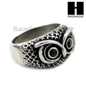 ESBONRC MEN STAINLESS STEEL HIP HOP ANTIQUE SILVER TONE OWL w/ ONYX RING 8-12 SR027CL