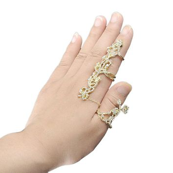 Double Full Finger Rings Knuckle Armor Ring Set for Women