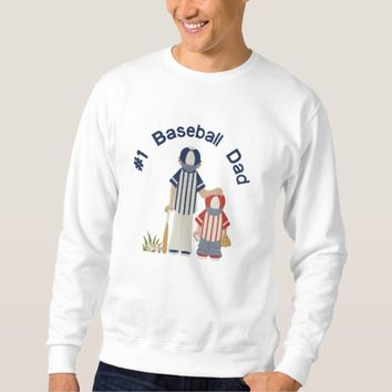 #1 Baseball Dad and Child Embroidered Sweatshirt