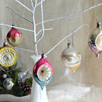 Vintage Mercury GLASS Indent CHRISTMAS Tree ORNAMENTS