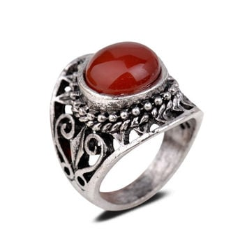 Yazilind Vintage Antique Round Cut  Jade Retro Silver Plated Heart Hollow 6.5 8 9 Ring Women = 1946967236