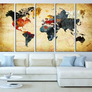 World Map Canvas Art Print, Old World Map Wall Art, Large Canvas Print,  Extra Large Wa