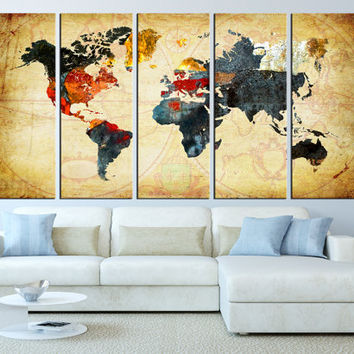 World Wall Art world map canvas art print, old world map from artcanvasshop on