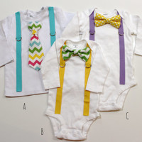 Boys Easter Shirt. Idea for Sibling Set.  Aqua Purple Yellow Chevron Polka Dots. Baby or Toddler. Egg Colors. Bow tie suspenders