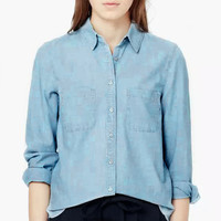 Light Blue Denim Button Down Long Sleeve Shirt