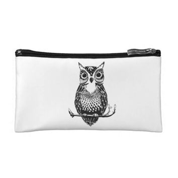 Illustrated Owl Cosmetic Bag