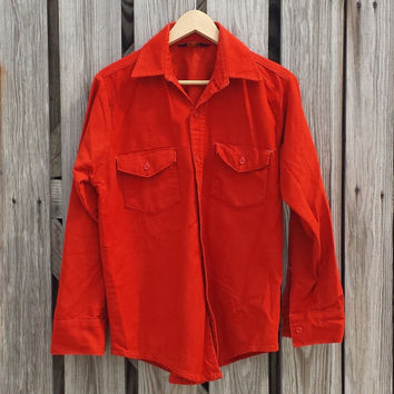 Vtg 1970s Rust Orange Pointed Collar Flannel Shirt - Lumberjack Shirt - SZ S / M