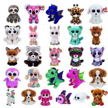 TY Beanie Boos Cow Darla Dragon and Leopard Plush Doll Toys for Girl Rabbit Fox Cute Animal Owl Unicorn Cat Dog