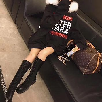 Women Personality Fashion Sequins Letter Skull Head Print Loose Long Sleeve Middle Long Section Hooded Fur Collar Sweater Dress