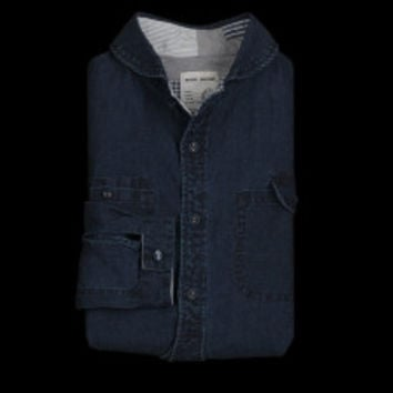 UNIONMADE - Natic Marine - Linen Shawl Collar Shirt in Indigo
